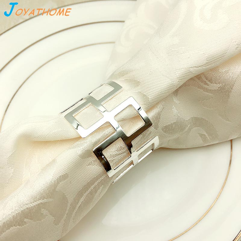 Joyathome High End Hotel Restaurant Silver Napkin Ring Napkin Buckle Serviette Holder Wedding Banquet Party Table Decoration in Napkin Rings from Home Garden