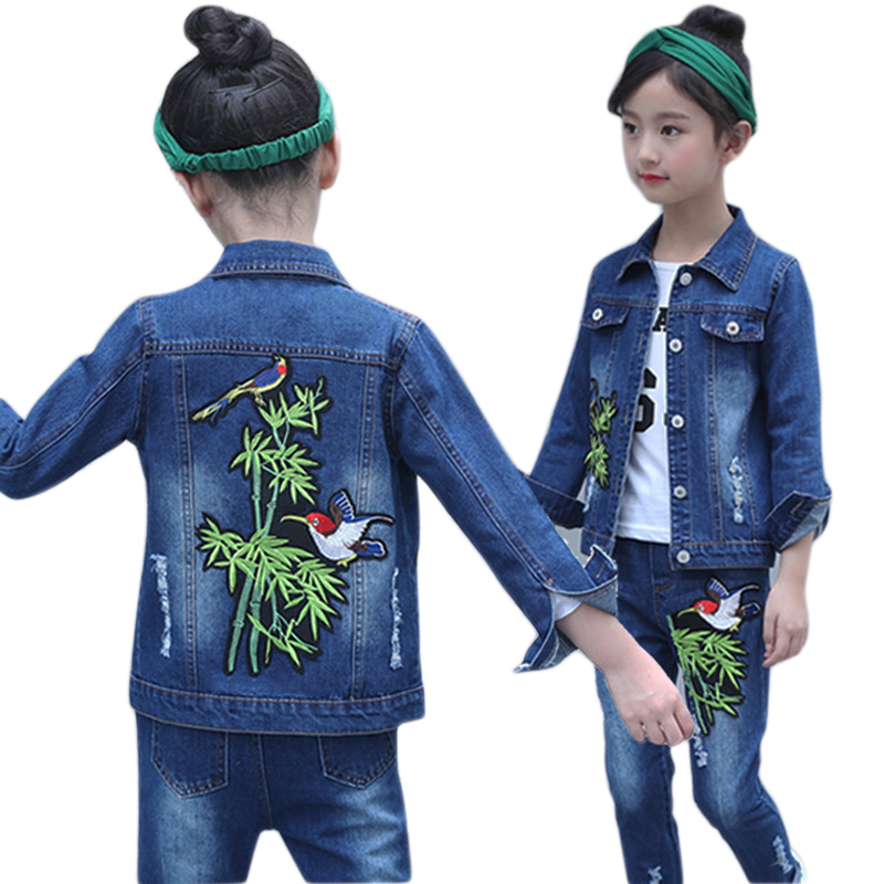 Girls Denim Sets 3pcs Shirt + Jacket + Pants Children clothing Spring Autumn Kids Denim suit Teenage Cowboy for 6 8 10 12 14 Y