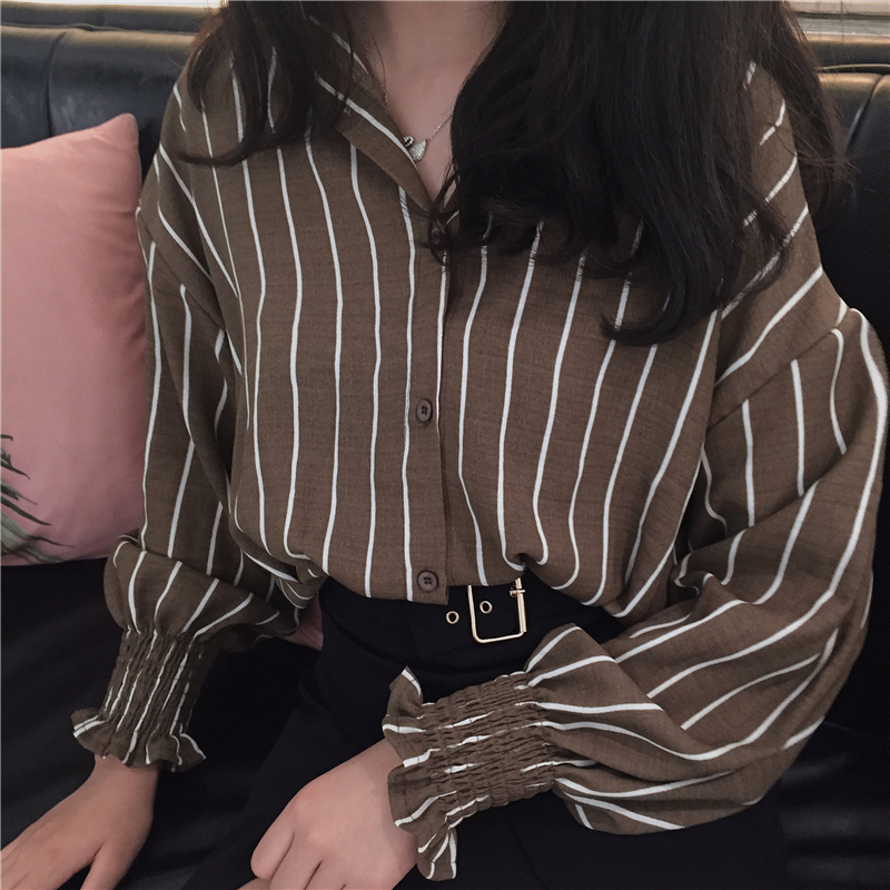 17 Autumn Spring Vintage Shirts Women Striped Slim Stand collar Women Casual Shirts Ladies Classic Style Shirts Female Loose 9