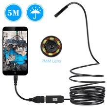 6 LED 7 мм объектив эндоскопа IP67 Водонепроницаемый инспекции бороскоп USB Провода Змея пробки Камера 6 светодиодов для Android Smart телефоны