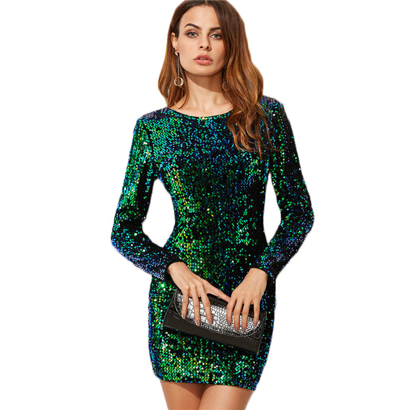 COLROVIE Women Dress Elegant Sexy Club Dresses Korean Style Brand Green Iridescent Long Sleeve Sequin Bodycon Dress 7
