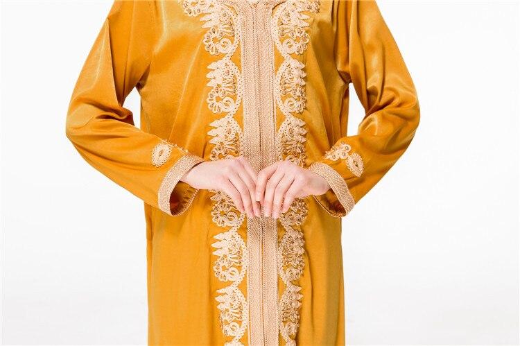 Adulte décontracté perles soie tissu Robes Musulmane dubaï mode robe Musulmane Robes chaudes arabe culte Service musulman abaya Wj2281 - 6