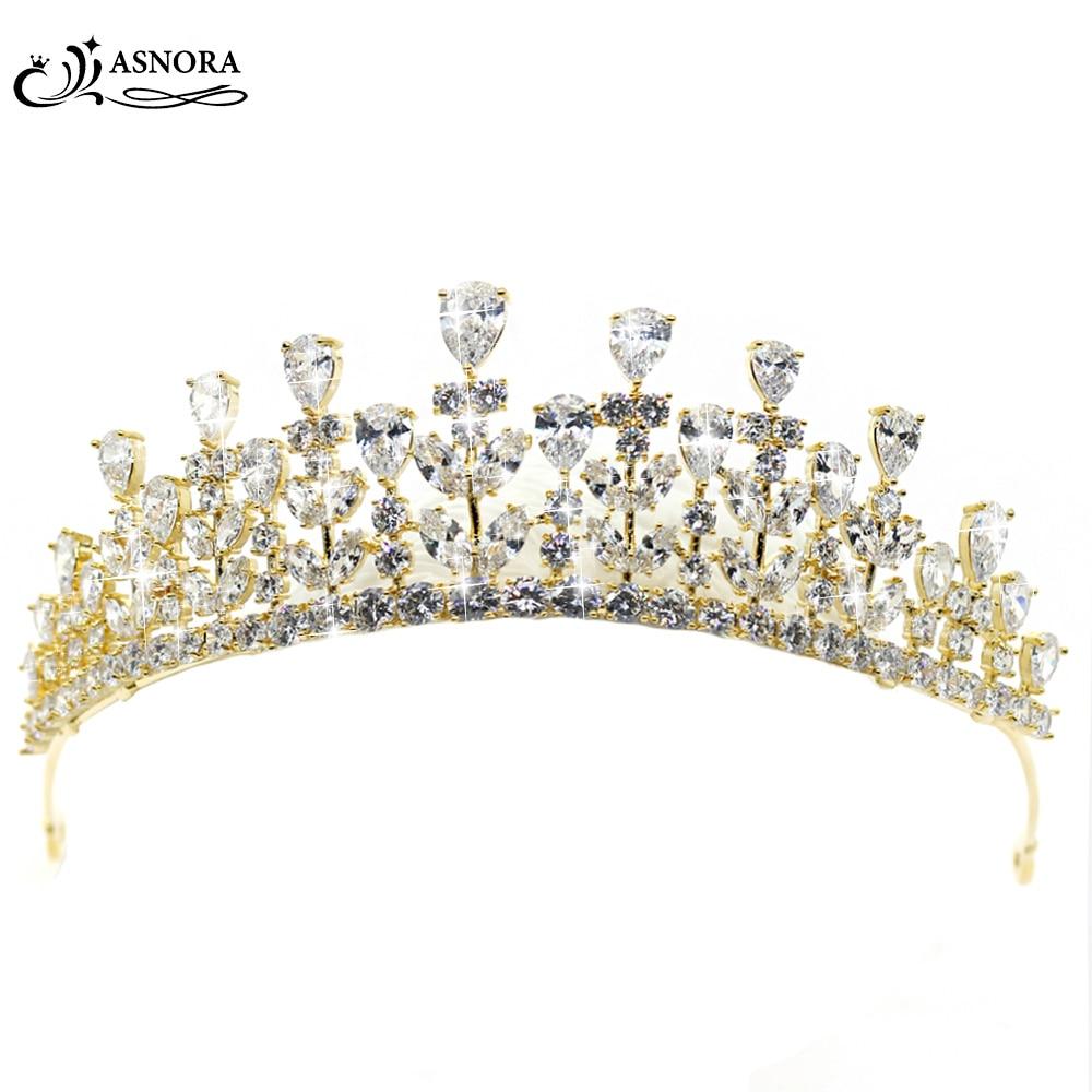 ASNORA coroa de noiva Gold Wedding Crowns Brida Tiaras Bride Hair Accessories Zircon Crystals Wedding Accessories tiara de boda