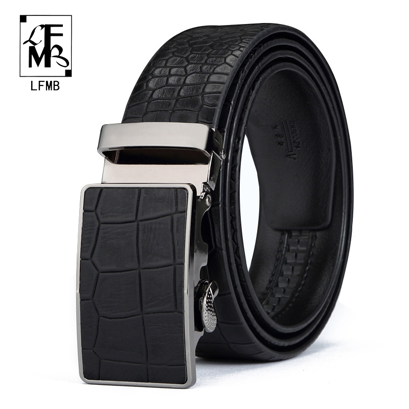 [LFMB] Designers Luxury Cowhide Brand Genuine Leather Automatic Buckle Belts for Mens High Quality Male Cowskin Ceinture Homme