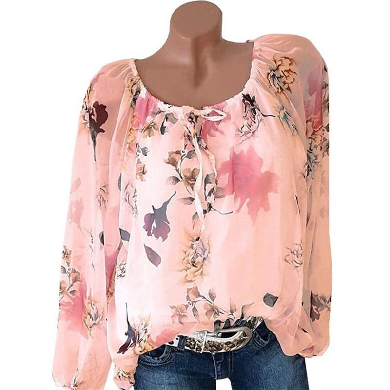 Floral long sleeve blouse o-neck 5xl womens tops and blouses 2019 korean streetwear plus size women chiffon blouse woman tops