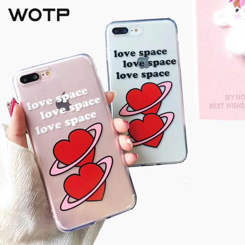 992e577ed8a2f Detail Feedback Questions about WOTP Couples Letter Phone Cases For iPhone  X Cute Love Heart Clear Soft TPU Case For iphone 7 6 6S 8 Plus Ultra Slim  Back ...