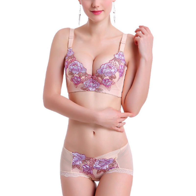 Slimgirl Women's Sexy   Bra     Set   Floral Embroidery Oil Water Push Up Underwire 3/4 Thick Cup adjustable straps   Bra   &   Brief     Sets