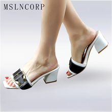 Plus Size 34-43 New Arrival Summer Women Slipper Square Heel Ladies Slides Fashion Chunky Block Med Heels Buckle Sandals Shoes smirnova fashion square heel buckle summer new shoes woman buckle casual sandals women genuine leather med heels shoes