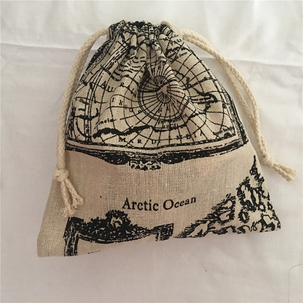 YILE 1pc Map Of The World Cotton Drawstring Bag Multi-purpose Organizer Pouch Party Gift Bag 190111b