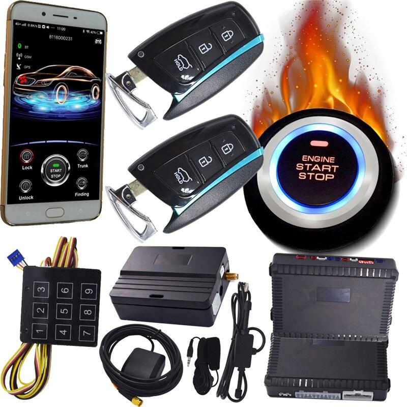 remote starter engine start stop smart car alarm system Smart phone GSM GPS tracking Passive Keyless