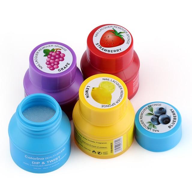 25ml Fruit Scented Nail Polish Remover Sponge Wet Wipes Easy Soak ...