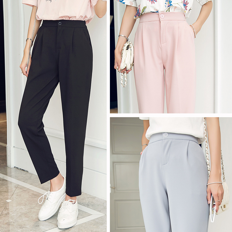 Big Sale~ Harem Pants Women Spring Summer Female Classic High Elastic Waist Fashion Slim Solid Color Ankle-length Pants