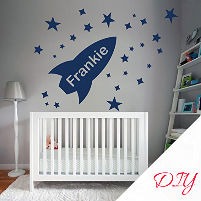 Rockets Custom Name Wall Art Sticker Personalize With Kid\'s Name ...