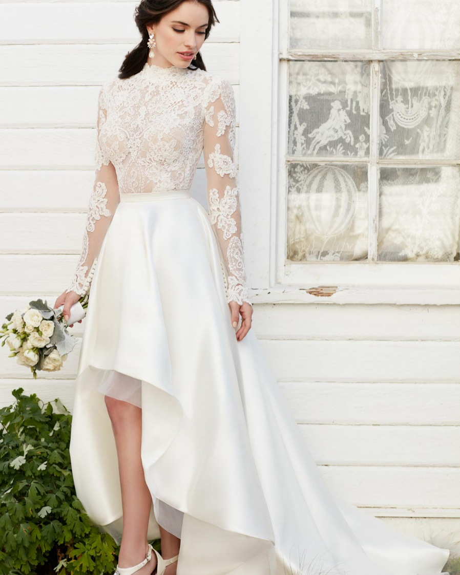 2e47a20219ec Vestidos De Novia Vintage High Low High Neck Lace Wedding Dresses 2017 New  Sexy Long Sleeve Wedding Gown Short Front Long Back