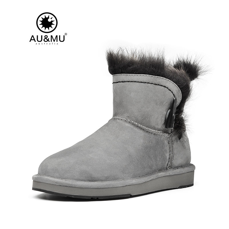 2017 AUMU Australia Fur Flat Suede Strap Exposed Wool Trims Round Toe Rubber Soles Snow Winter Boots UG N049 2017 aumu australia fashion suede fur