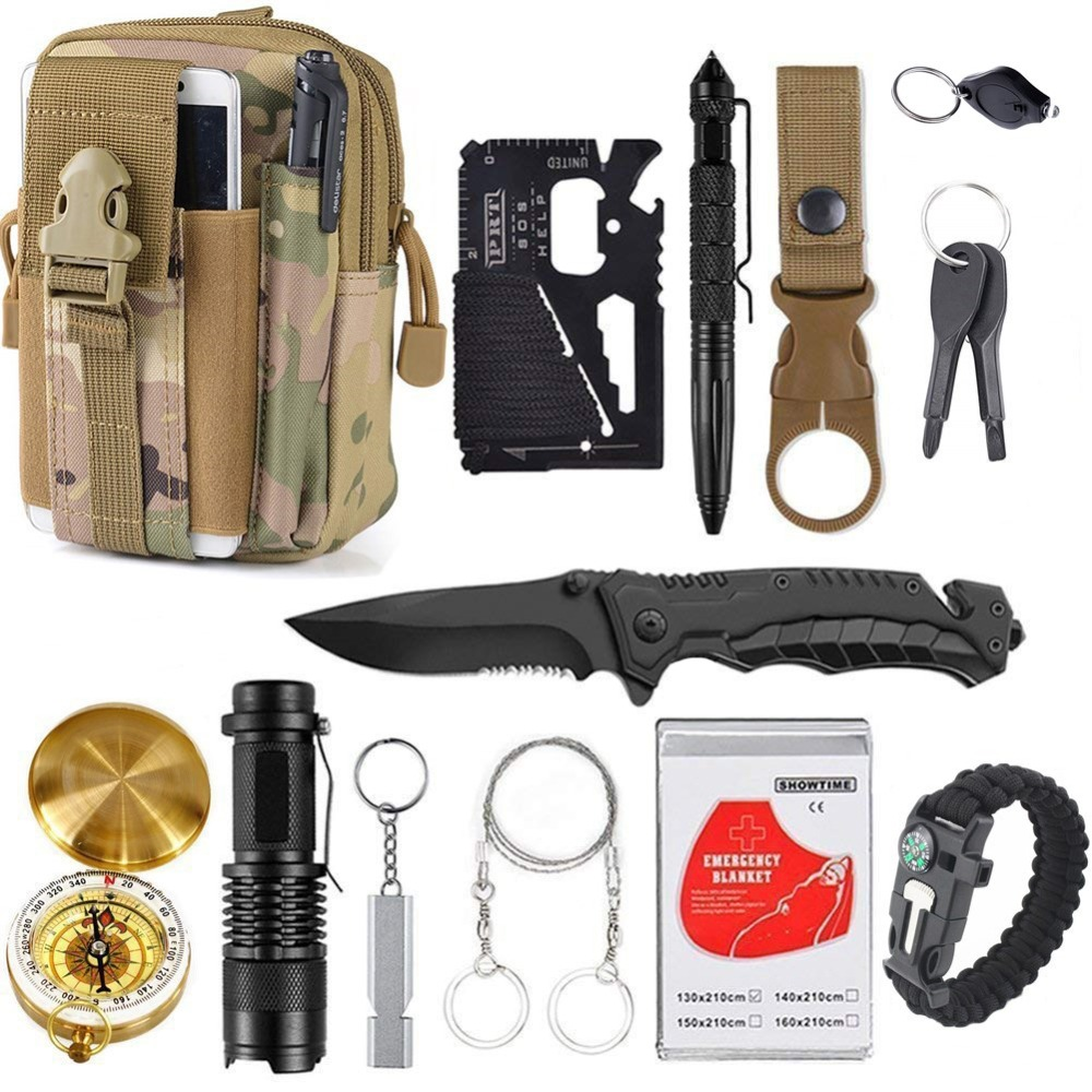 13 In 1 Emergency Survival Gear Professional First Aid Kit Outdoor Camping Hiking Survival Tools Whistle Tactical Tools for Wild