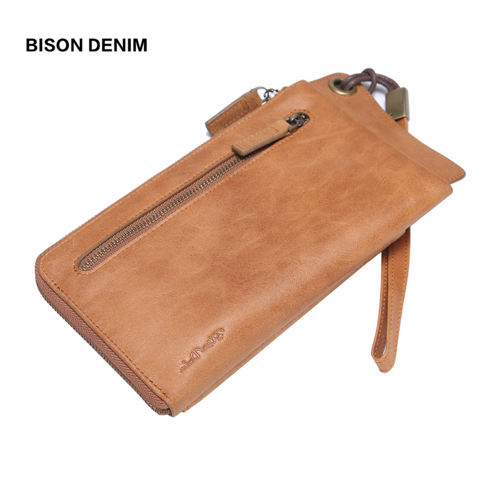 BISON DENIM 100% Leather Wallet Women Purse Long Clutch Bag Passport Cover Wallet Women Card Holder Coin Purse carteira feminina new fashion leather wallet korean bow solid women wallet hash 3 fold long women purse carteira feminina cion pocket card holder