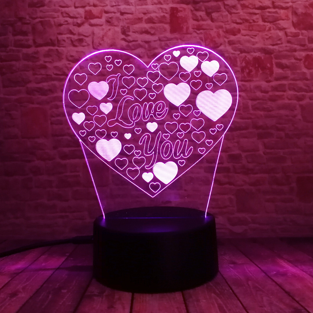 Amroe 3D Illusion Love Heart LED Lamp with I Love You 7 Color Flash RGB Night Lamp as Couple & Lovers Birthday Xmas Toy Gifts