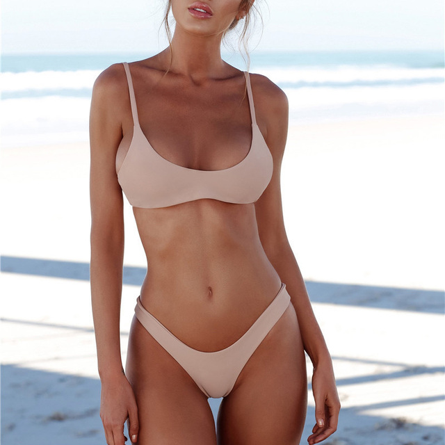 Sexy kvinner Badetøy brasiliansk bikini Push Up Swimsuit Solid badetøy badedrakt Thong Biquini Bikinis Set