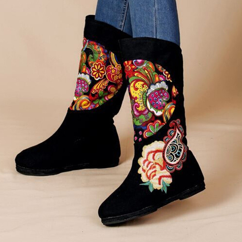 Women's black floral embroidered mid-calf cotton fabric fashion boots Chinese folk style Beijing Cloth slip-on boot double buckle cross straps mid calf boots