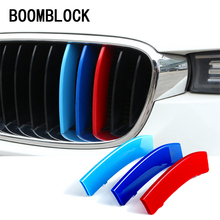 3D M Styling Car Front Grille Trim Sport Strips Cover Motorsport Power Performance Stickers for BMW E46 E90 F30 F34 E92 E93