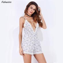 Playsuit Women Summer 2019 Floral Print Boho Cami Romper High Waist Deep V Neck Playsuit Sexy Lace Beach Vacation Jumpsuit floral women fashion playsuit summer backless jumpsuit deep v straps print sling romper ns