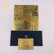 10 pçs/lote Colorido Ouro Banknote 100 Lei Romena Moeda lembrança para 100th aniversário da unificação da Roménia