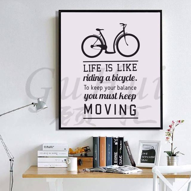Fiets en leven inspiraties beroemde poster geen frame woonkamer ...