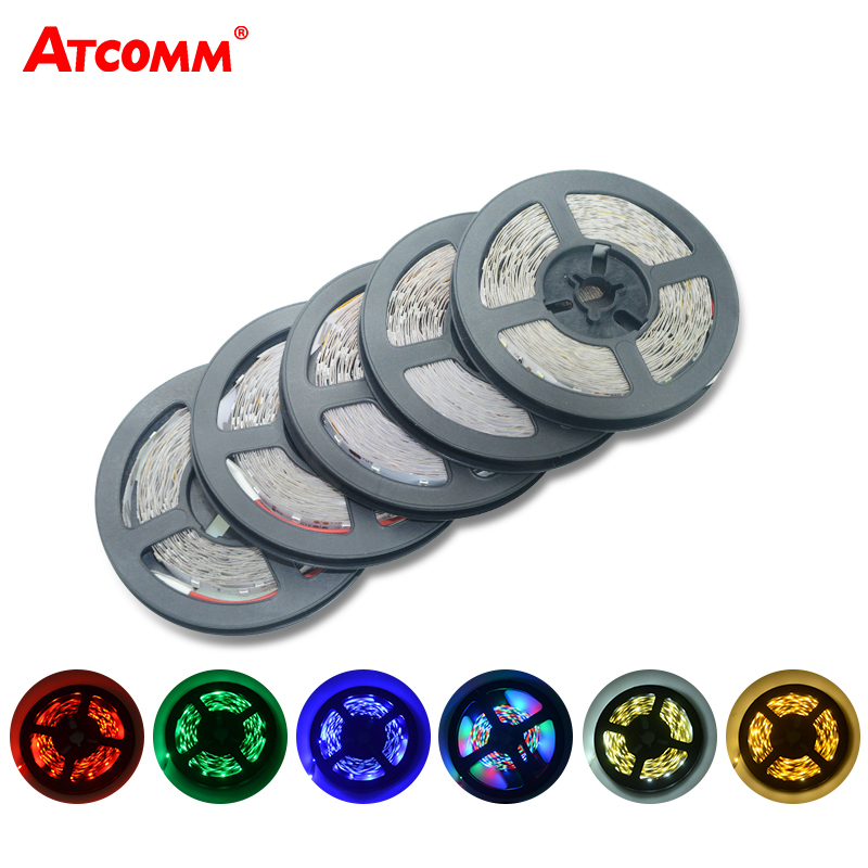 5M 3528 RGB LED Strip Light 300 LEDer DC 12V Rød Grønn Blå Varm Hvit Kul Hvit Fleksibel SMD 3528 LED Diode Ribbon Tape Lampe