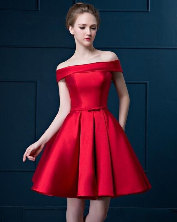 Элегантный вырез лодочка открытые плечи коктейльный платье короткий рукав зеленый и красный атлас пром ну вечеринку платье весна лето - Цвет: Красный