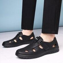 Мужские сандалии; летняя Высококачественная Брендовая обувь; пляжные мужские сандалии; повседневная обувь из натуральной кожи; модная уличная водонепроницаемая обувь