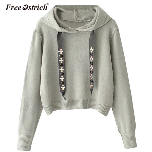 Free Ostrich Sweatshirt Women Winter Short Hoodies Casual Diamond Long  Sleeve Pullovers Solid Women Tops Sudadera Mujer L0530 b33bd30281a2