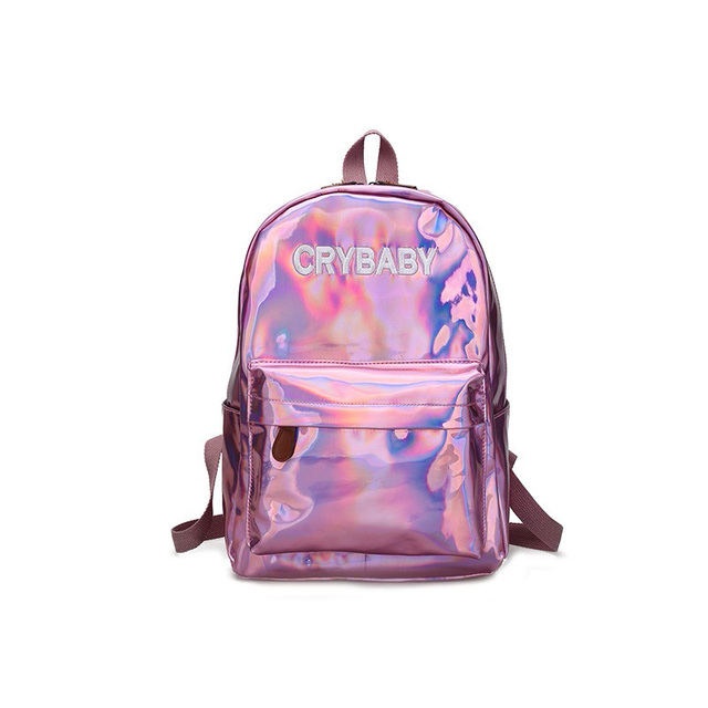 Woman Bag Pack Holographic Backpack Mochila Pink One Piece Rucksack Women Hologram School Bags For S