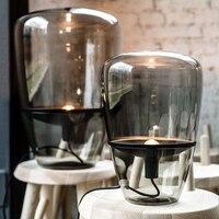 Современный минималистский серый дым крышка дизайн стекла, настольные лампы Nordic Творческий оборудования лоток DIY Ресторан украшения E27 осв