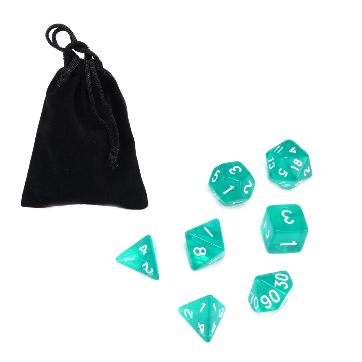 Wholesale 7pcs Green Translucent Dices With Bag Polyhedral Dice Set For Dragons And Dungeons RPG D4 - D20 Bar Gambling Game Dice