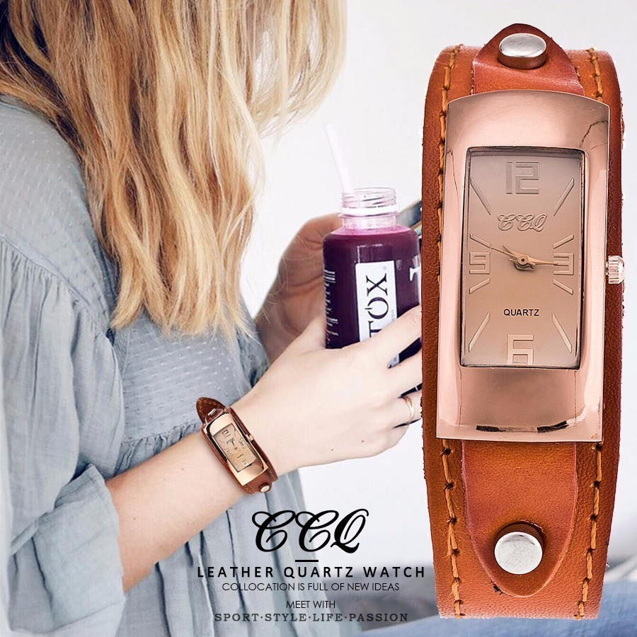 CCQ Brand Noble Watch Genuine Leather Bracelet Simple Watch Women Quartz Sport Watches Wrist Watch Best Gift Relogio Feminino ccq brand fashion vintage cow leather bracelet roma watch women wristwatch casual luxury quartz watch relogio feminino gift 1810