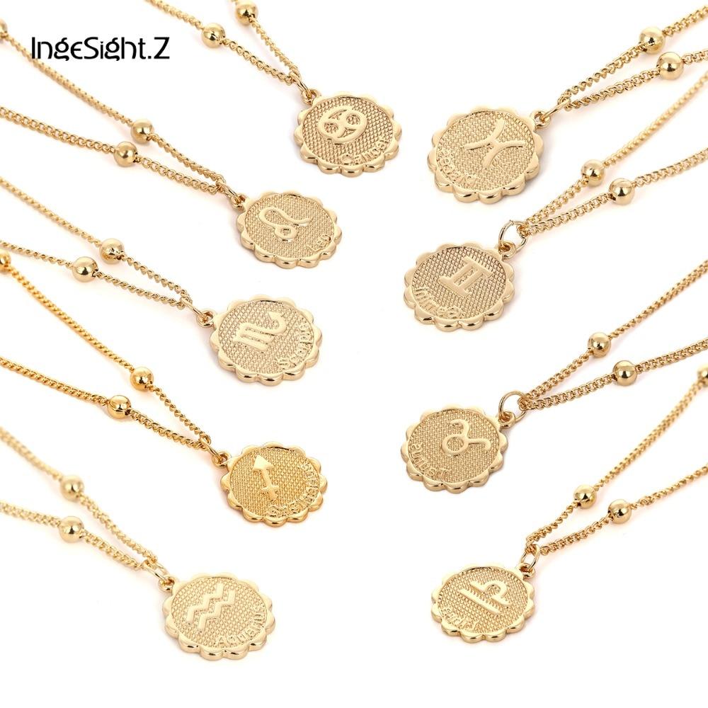 Ingesight. z vintage personalizado doze constelações esculpida moeda colar de cobre leo pingente colar feminino jóias