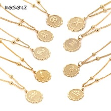 IngeSight.Z Vintage Personalized Twelve Constellations Carved Coin Necklace Statement Copper Leo Pendant Necklace Women Jewelry недорого