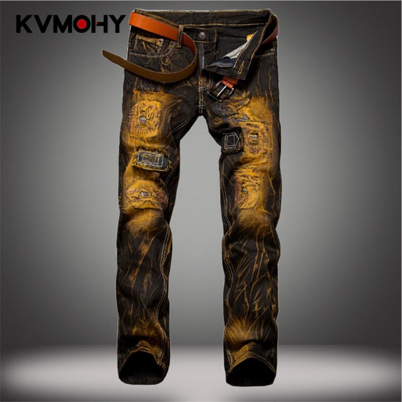 Men Jeans Hip Hop New Denim Pants Male Jeans Vintage Color Pleated Mens Trousers Streetwear Distressed Pantalon Homme Jean