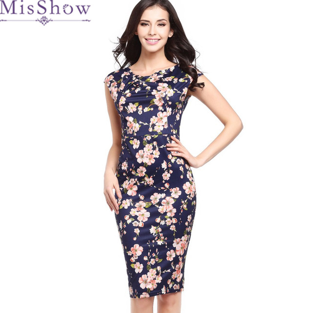 1d26bddbe16 MisShow New Arrival Simple Solid Elegant Printed Summer Dress Women Slim  Pencil Dress sheath Bodycon Office Dresses