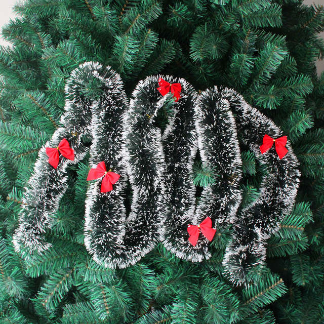 Us 4 23 5 Off 3pcs Lot 200cm Christmas Decoration Color Bar Tops Ribbon Garland Christmas Tree Ornaments Dark Green Cane Tinsel In Artificial