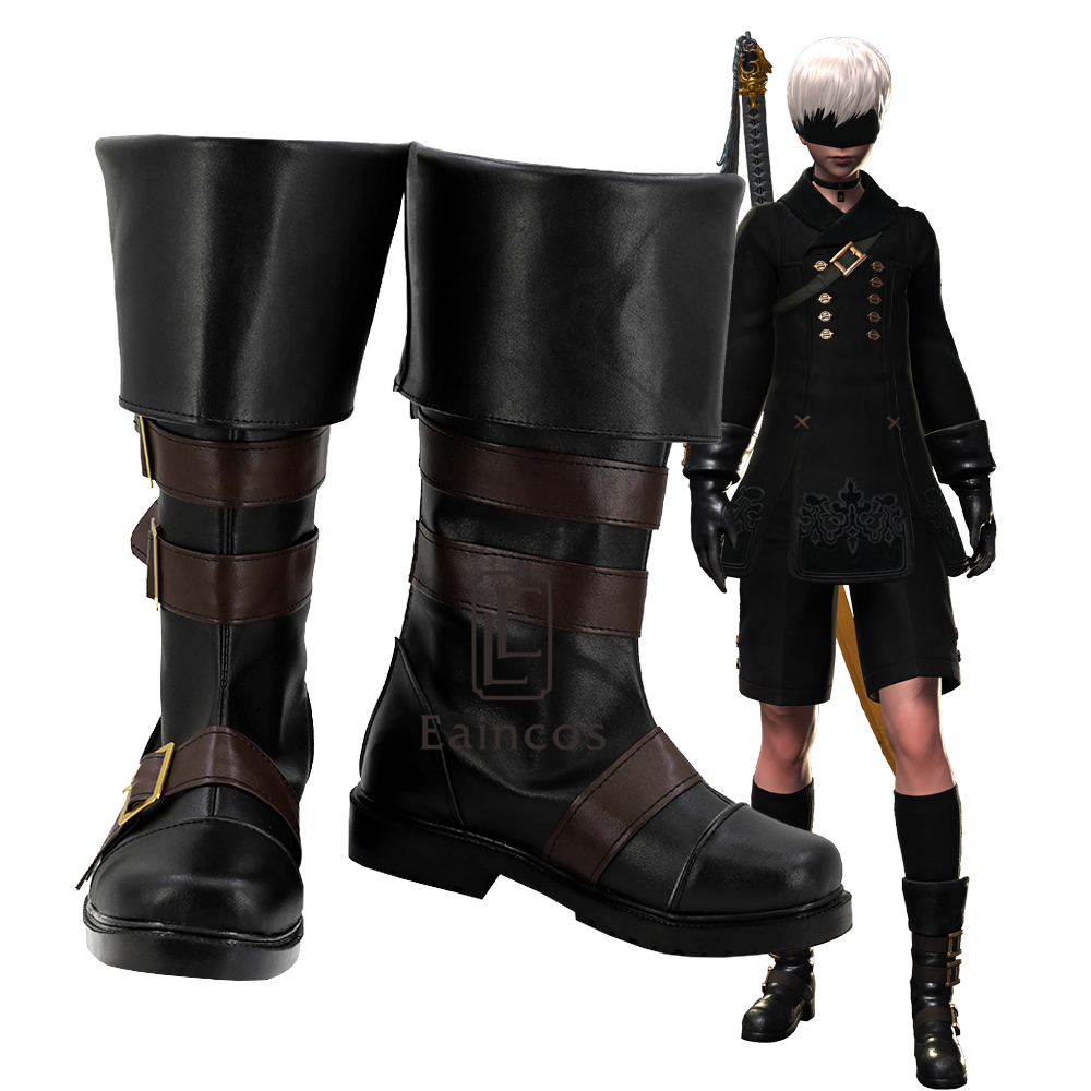 Game NieR Automata 9S Shoes YoRHa No 9 Type S Cosplay Halloween Party Fancy Boots Custom
