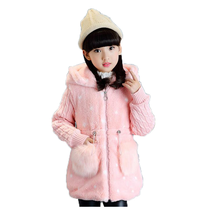 ФОТО 2017 New Fashion Spring Girl Coats Cotton Hooded Zipper Pocket Long Sleeves Outerwear Winter Children Clothing Jacket For Girls