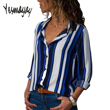 Womens Tops And Blouses Plus Size 4XL 5XL Long Sleeve Blusas Mujer De Moda 2018 Elegantes Florales Striped Print Women Blouse