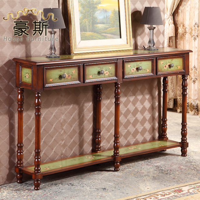 American Village Classical Glove Green Painted Console Table Decorations  Continental Corridor Desk A Few Articles Specials