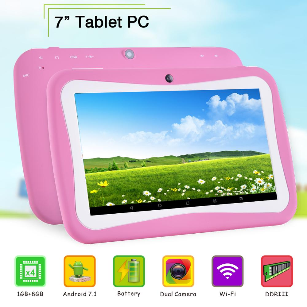 7 Inch Tablet PC 1GB RAM 8GB ROM 1024*600 IPS Tempered Glass 7.1 Tablets Android 7.0+Gifts