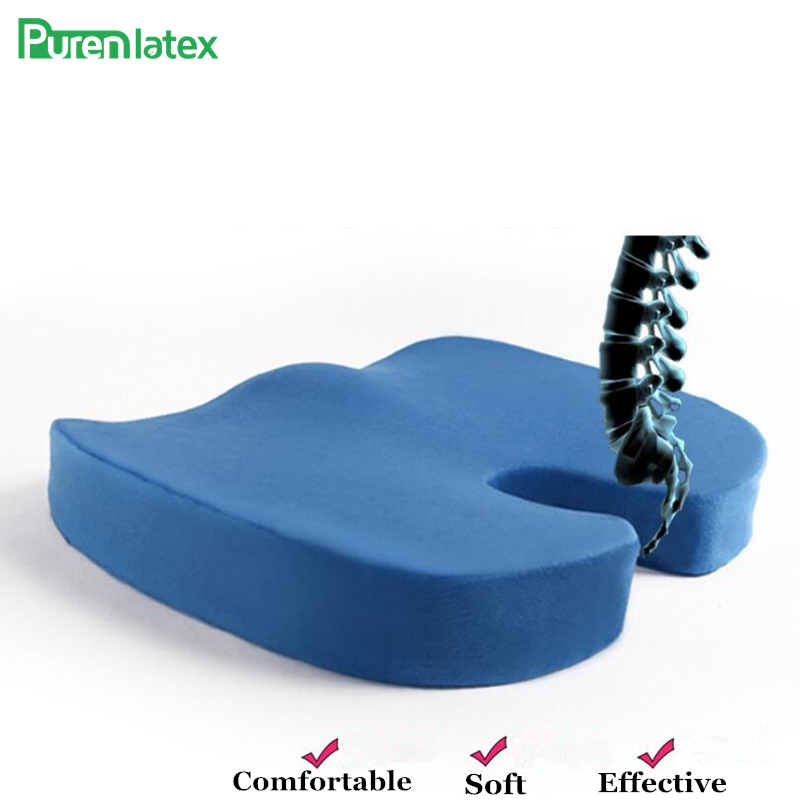 PurenLatex Memory Foam Chair Cushion For Back Car Orthopedic Pillow Hemorrhoid Seat Tailbone Coccyx Protect Pad Office Sofa