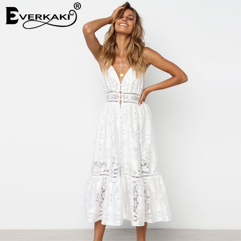 Everkaki Boho Women White Guipure Lace Dresses Backless Summer Midi Dress 2018 Hollow Out Long Gypsy Spaghetti Strap Vestidos