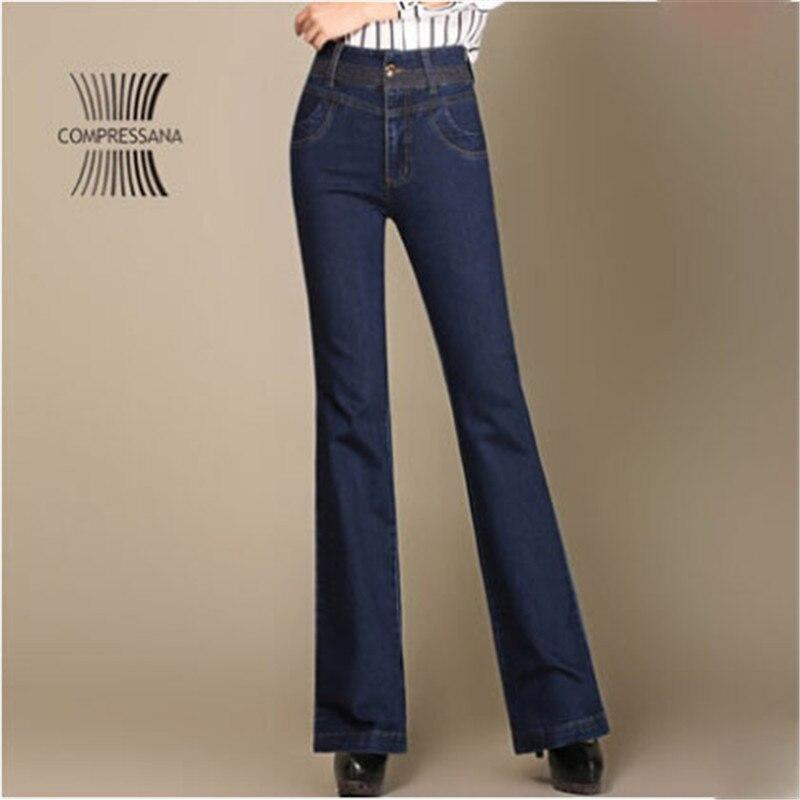 High Waist Jeans Women Autumn Spring Cotton Female Long Good Quality Denim Pants Loose Version Blue Trousers For Women A2973