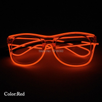 Wholesale Glowing Product EL Wire Flashing Glasses Steady on Driver Powered by 2 AA Batteries Novelty Lighting Decor